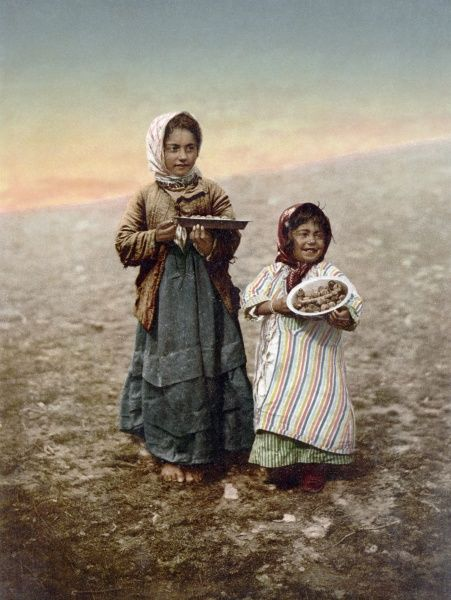 JERUSALEM GIRLS, c1900.  Photochrome