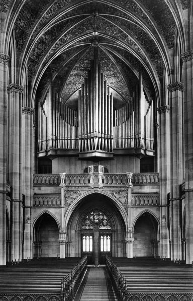 KAISER WILHELM CHURCH.   Main entrance and pipe organ of the Kaiser Wilhelm Memorial Church in Berlin, Germany. Photograph, c1920