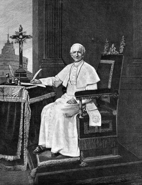 LEO XIII (1810-1903).   Pope, 1878-1903. Engraving, 1893