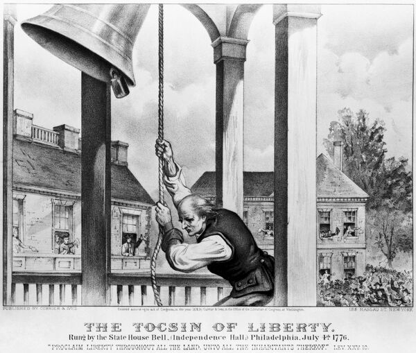 LIBERTY BELL, 1776.   'The Tocsin of Liberty.' Ringing the Liberty Bell at the State House in Philadelphia, Pennsylvania, on 4 July 1776. Lithograph, 1876, by Currier & Ives