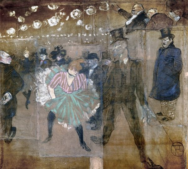 LOUISE WEBER (1866-1929).  French can-can dancer, known as La Goulue (the Glutton). 'The Danse of La Goulue and Jacques Renaudin, or Valentin-le-Dessosse.' Oil on canvas, 1895, by Henri Toulouse-Lautrec