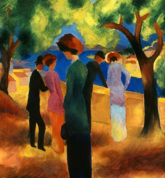 MACKE: GREEN JACKET, 1913. Woman in a Green Jacket. Oil on canvas by August Macke