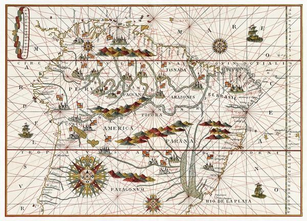 MAP AMERICA 1582 Map of South America by Juan Martinez 1582