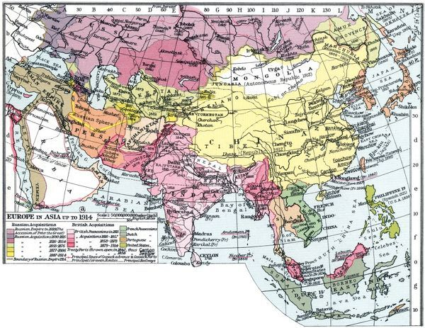 map europe in asia map of asia english c1935 emphasizing the territorial acquistitions