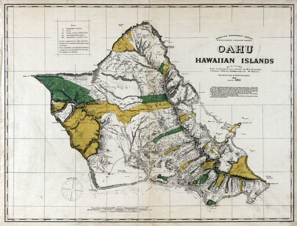 photo relating to Printable Map of Hawaiian Islands identified as 14x12 (38x32cm) Framed Print of MAP: OAHU, 1881. Map of Oahu, Hawaiian Islands. Map through C.J. Lyons, 1881