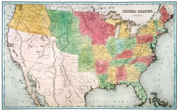 MAP UNITED STATES 1837 nEngraved map of the United States