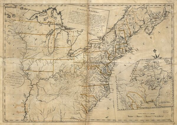 Treaty Of Paris Map 1783.Map Usa 1783 The United States According To The Definitive Treaty