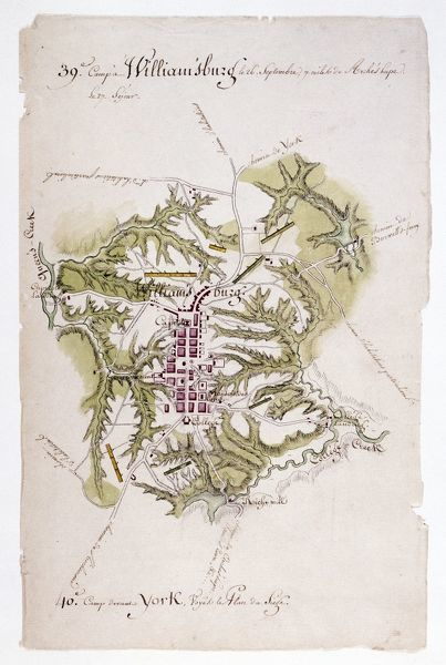 WILLIAMSBURG: MAP, 1781.  Map of Williamsburg, Virginia, and the surrounding country. Drawing, 1781, by Louis Alexandre Berthier, an aide to General Rochambeau