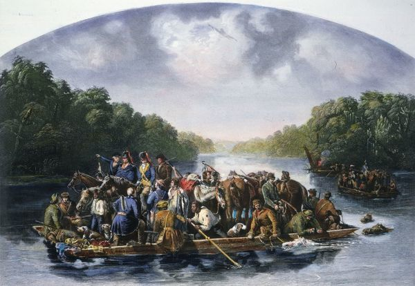 FRANCIS MARION (c1732-1795).  Marion and his men crossing the Pee Dee River to harass the British in South Carolina during the American Revolutionary War. Steel engraving, 1851, after a painting by William Tylee Ranney