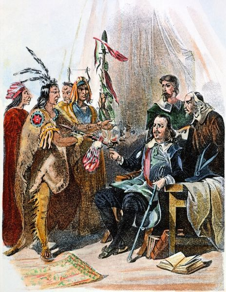 MASSASOIT & CARVER, 1620. Wampanoag Native American chief Massasoit meeting with John Carver, the first governor of Plymouth colony, in 1620. Steel engraving, American, 19th century