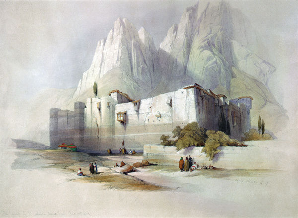 MOUNT SINAI: MONASTERY.   Saint Catherine's Monastery at Mount Sinai, Egypt. Lithograph by Louis Haghe, c1845, after a painting by David Roberts