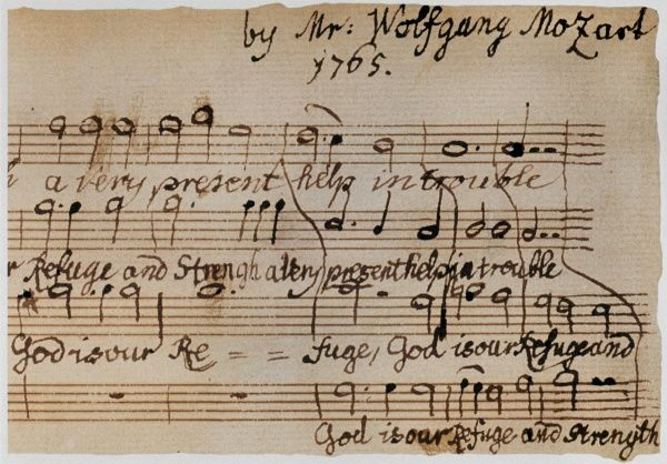 MOZART: MOTET MANUSCRIPT.  Detail of the autograph of the motet, 'God is Our Refuge,' written by Wolfgang Amadeus Mozart at age 9, 1765