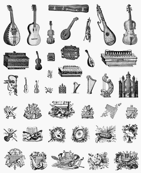 MUSICAL INSTRUMENTS. Decorative cuts, French, c1900