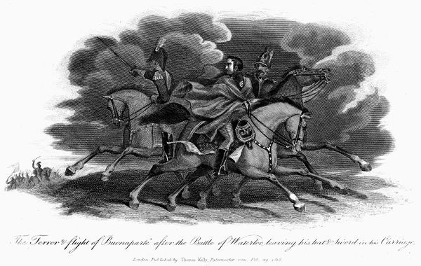NAPOLEON I: WATERLOO, 1815. The Battle of Waterloo, June 18, 1815. 'The terror and flight of Bonaparte after the Battle of Waterloo leaving his hat and sword in his carriage.' Line engraving, English, 1816