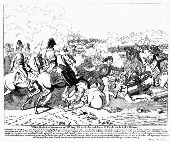 NAPOLEON I: WATERLOO, 1815. Emperor Napoleon I of France fleeing the Battle of Waterloo at La Belle Alliance, 18 June 1815. Contemporary German wood engraving