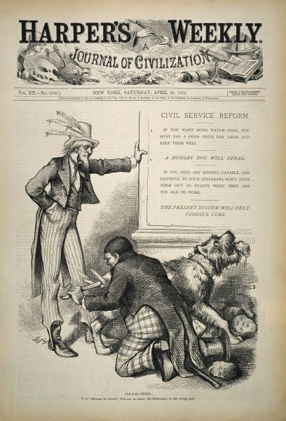 "NAST: CIVIL SERVICE REFORM.  ""Cur-Tail-Phobia"": cartoon comment, 1876, by Thomas Nast on the need for civil service reform"