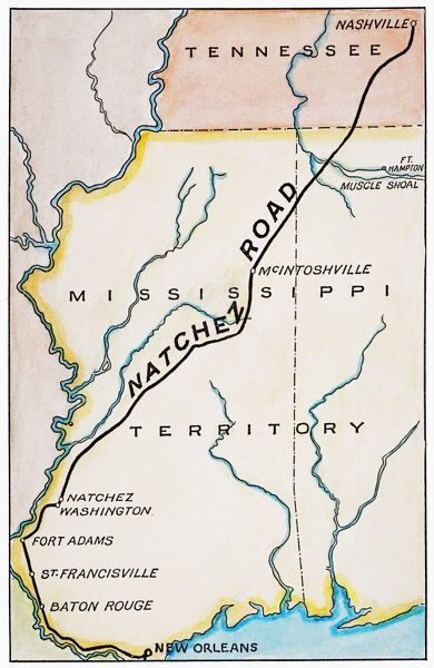 Natchez Trace 1816 Map Of The Natchez Road Constructed In The