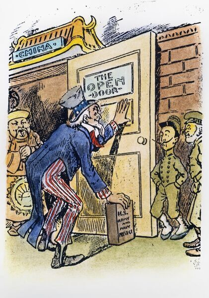 'OPEN DOOR' CARTOON, c1900.  American cartoon, c1900, depicting Uncle Sam propping the 'Open Door' policy with China with the brick of 'U.S. Army and Navy Prestige,' as the colonial powers of France and Russia look
