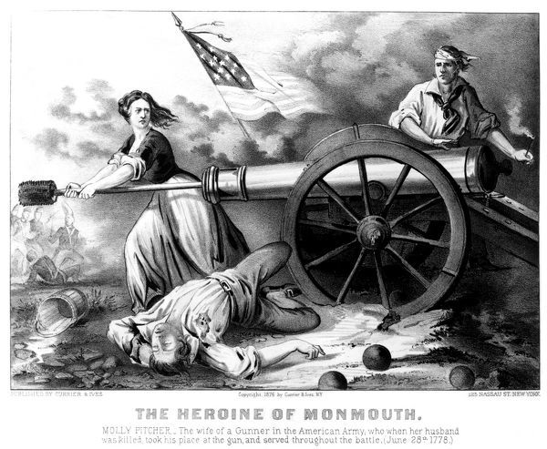 MOLLY PITCHER (1754?-1832).  Originally, Mary McCauley. American Revolutionary heroine. Lithograph, 1876, by Currier & Ives