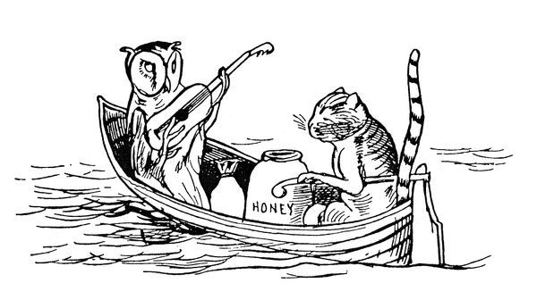 THE OWL AND THE PUSSYCAT.  Drawing by Edward Lear from his book 'Nonsense Songs, Stories, Botany and Alphabets,' first published in 1871
