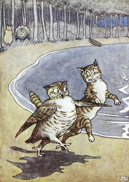OWL AND THE PUSSYCAT.  Illustration by Leslie Brook (1862-1940) for Edward Lear's 'Nonsense Song, Stories, Botany, and Alphabets.'