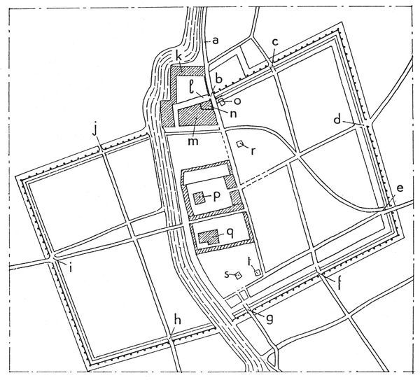 BABYLONIA: PLAN OF BABYLON.  Plan of the city, including (b) Ishtar Gate; (n) hanging gardens; (q) temple of Marduk; (r) temple of Ishtar