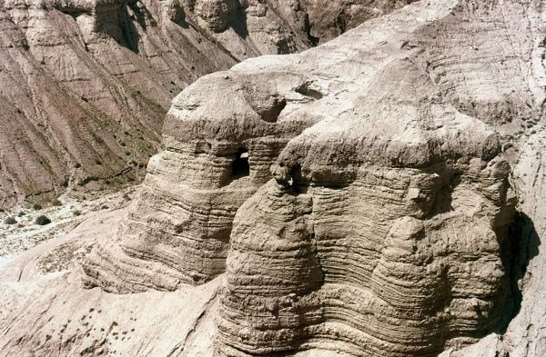 QUMRAN: DEAD SEAL SCROLLS.  Cave Number 4, where some of the Dead Sea Scrolls were discovered in 1947