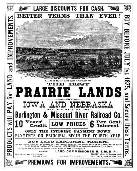 14x12 (38x32cm) Framed Print of RAILROAD: LAND SALE, c1875  Advertisement  for lands in Iowa and Nebraska sold by