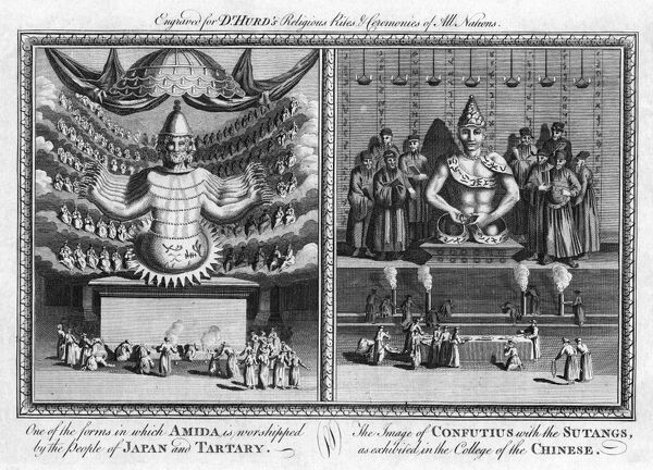 RELIGION: JAPAN AND CHINA.   Left: 'One of the forms in which [the Buddha] Amida is worshipped by the people of Japan and Tartary.' Right: 'The Image of Confutius with the Sutangs, as exhibited in the College of the Chinese.' Copper engraving, from Dr