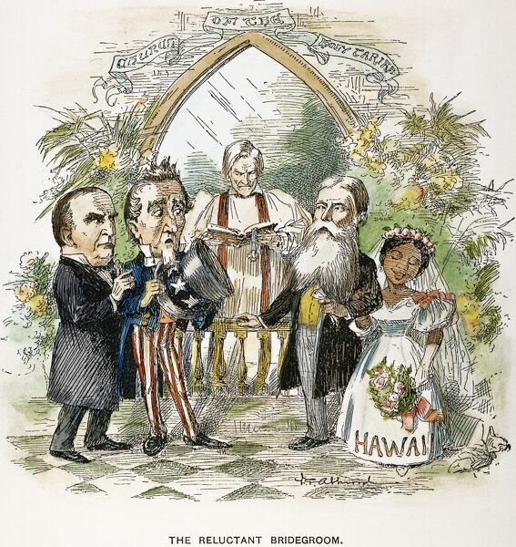 HAWAIIAN ANNEXATION, 1897.  'The Reluctant Bridegroom.' An 1897 American cartoon on the growing annexation movement. Secretary of State John Sherman officiates, President William McKinley is Uncle Sam's Best Man, and the President of the Republic of Hawaii
