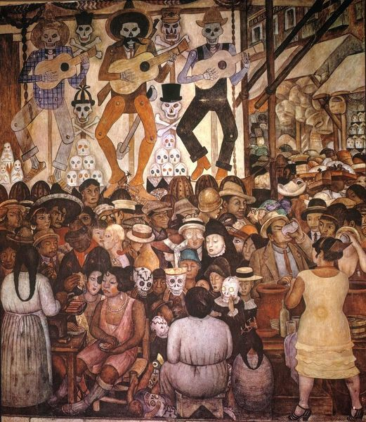 RIVERA: DAY OF THE DEAD.  'Feast of the Day of the Dead.' Mural by Diego Rivera at the Ministry of Public Education, Mexico City