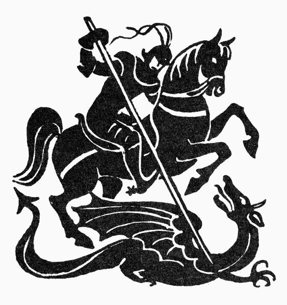 Saint George And The Dragon Symbol Of Courage Woodcut Saint
