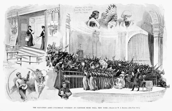 SALVATION ARMY, 1893.   'The Salvation Army - Columbian Congress at Carnegie Music Hall, New York.' Illustration, 1893