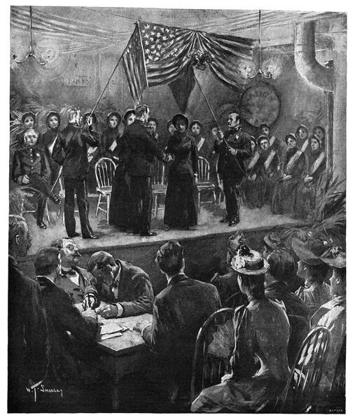 SALVATION ARMY WEDDING.   'A Salvation Army wedding at the barracks on Fourteenth Street, New York.' Drawing by W.T. Smedley, 1891