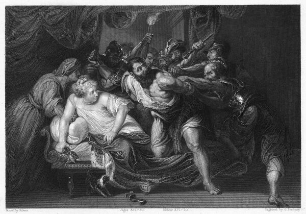 SAMSON AND DELILAH Scene From Judges 1620 And She Said The Philistines Be Upon Thee