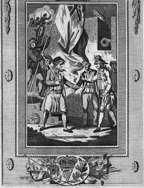 SAN FERNANDO DE OMOA, 1779.   A British sailor offering a sword to an unarmed Spanish officer to defend himself in the Battle of San Fernando de Omoa, fought between the British and Spanish at San Fernando de Omoa, Guatemala, shortly after Spain