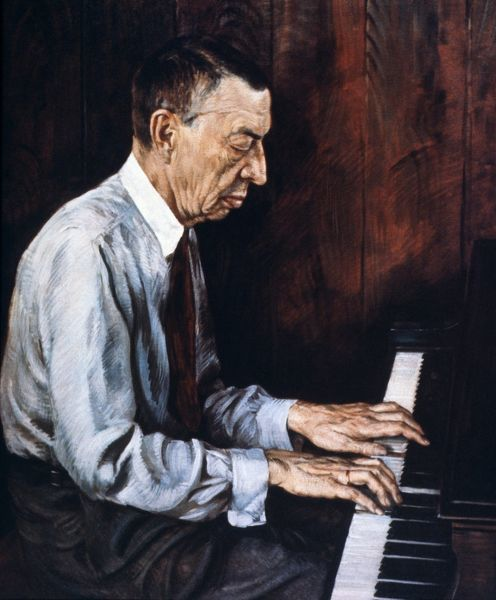 SERGEI RACHMANINOFF.  (1873-1943). Russian pianist, composer and conductor. Oil by Boris Chaliapin
