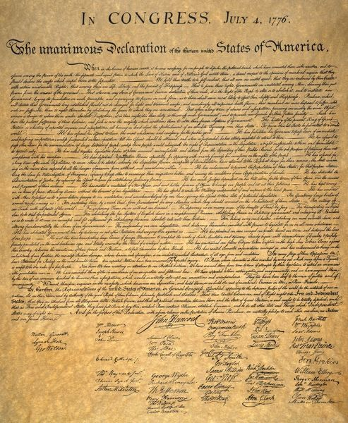 DECLARATION OF INDEPENDENCE  Signed copy of the Declaration of Independence, 4 July 1776