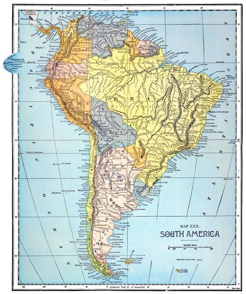 SOUTH AMERICA: MAP, c1890. Published in the United States ...