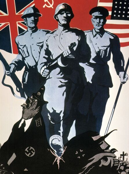 soviet world war ii poster on the anglo american soviet alliance