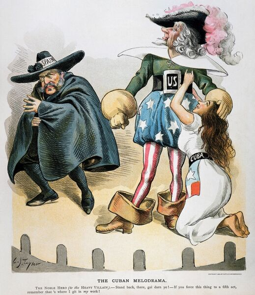 SPANISH-AMERICAN WAR, 1896.  'The Cuban Melodrama.' American cartoon by C. Jay Taylor, 1896, casting Uncle Sam as the hero, Spain as the villain, and Cuba as the damsel in distress