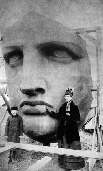 STATUE OF LIBERTY, 1885.  Face of the Statue of Liberty before asemblage at Bedloe's Island in New York Harbor, 1885
