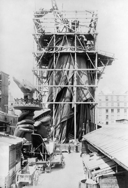 STATUE OF LIBERTY, c1883.  The Statue of Liberty under construction in Paris, c1883