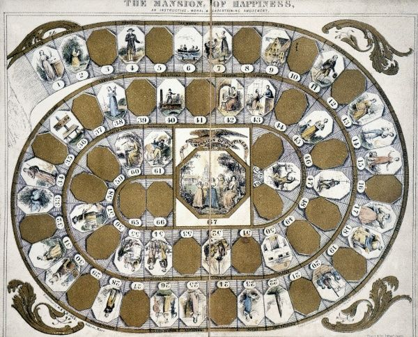 'MANSION OF HAPPINESS.'  Thought to be first board game produced in U.S., 1843