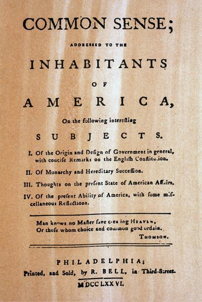 PAINE: COMMON SENSE, 1776.  Title-page of Thomas Paine's pamphlet 'Common Sense,' which urged Americans to declare their independence from Great Britain
