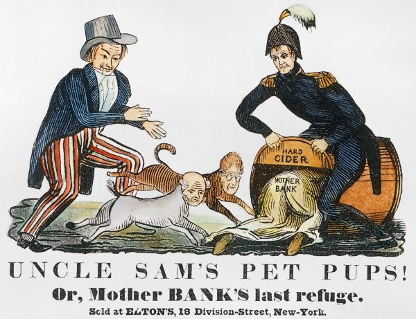UNCLE SAM: CARTOON, 1840.  'Uncle Sam's Pet Pups!' One of the earliest cartoon appearances (1840) of Uncle Sam and showing him chasing Andrew Jackson and Martin Van Buren into the hard cider barrel held by presidential candidate W.H. Harrison