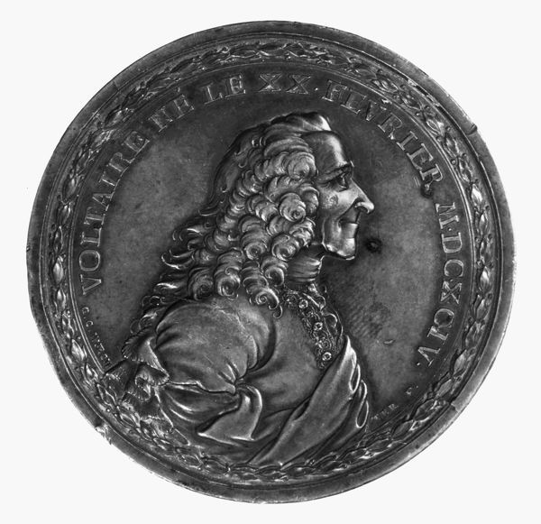 VOLTAIRE (1694-1778). Assumed name of Fran?ois Marie Arouet, French man of letters. Copy of bronze medallion made in 1770 by G.C. Wachter