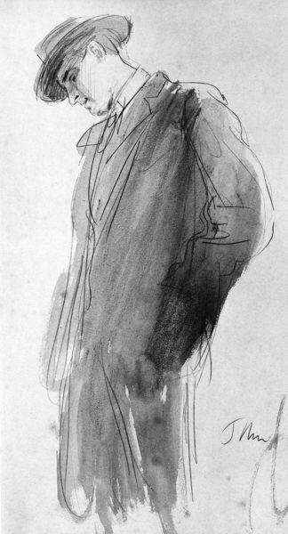 WILLIAM BUTLER YEATS  (1865-1939). Irish poet and playwright. Pencil and wash, c1910, by Augustus John