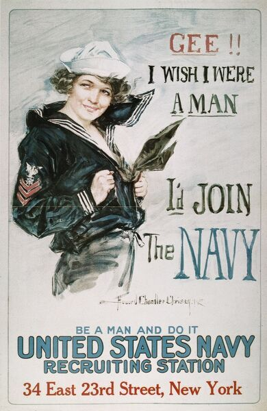 WORLD WAR I: U.S. NAVY.  'Gee!! I Wish I Were a Man, I'd Join the Navy.' American World War I recruiting poster, 1917, by Howard Chandler Christy