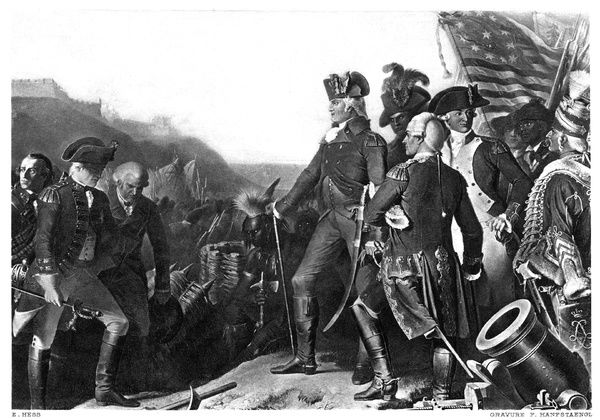 YORKTOWN: SURRENDER, 1781.   The British General Charles Cornwallis surrenders to American General George Washington at Yorktown, Virginia, ending fighting during the American Revolution, 19 October 1781. Gravure, c1900